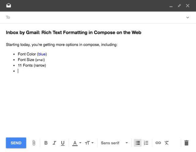 Inbox by Gmail ganha formatação de texto