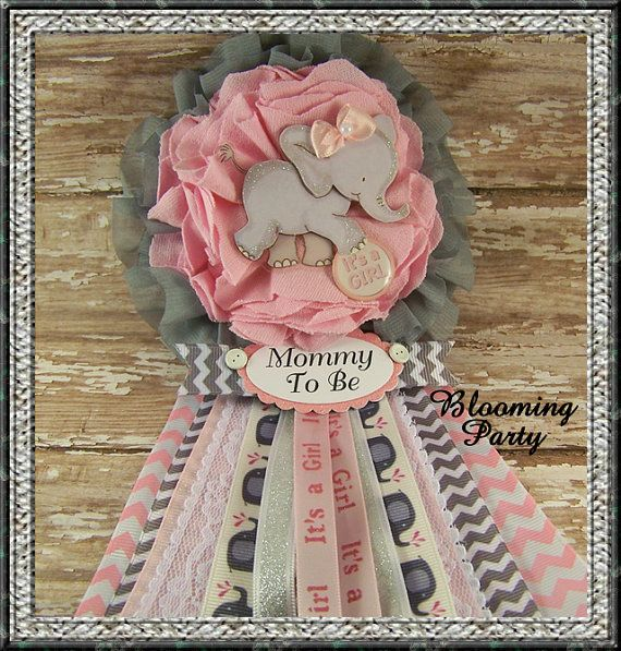 Pink Elephant Mommy To Be Corsage Pink and Gray por BloomingParty
