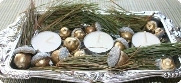 goldene Eichel Windlichter silberne Farbe