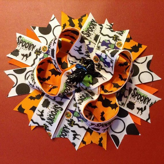 6 Handmade Spooky Boutique Stacked Halloween Hair Bow