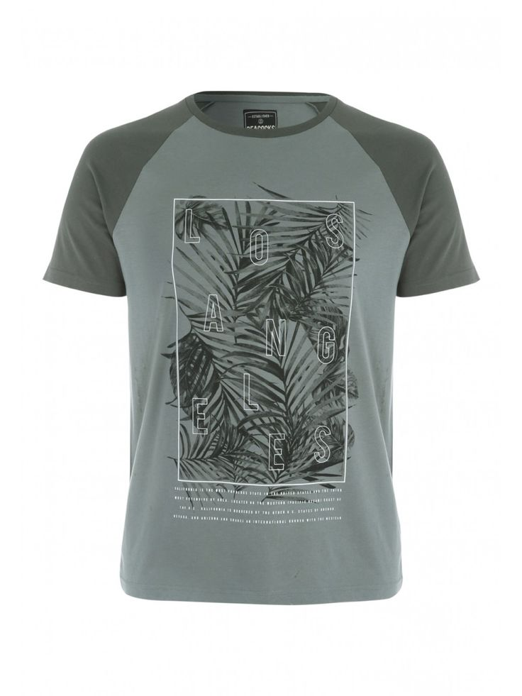 Mens Khaki Printed T-Shirt | Peacocks
