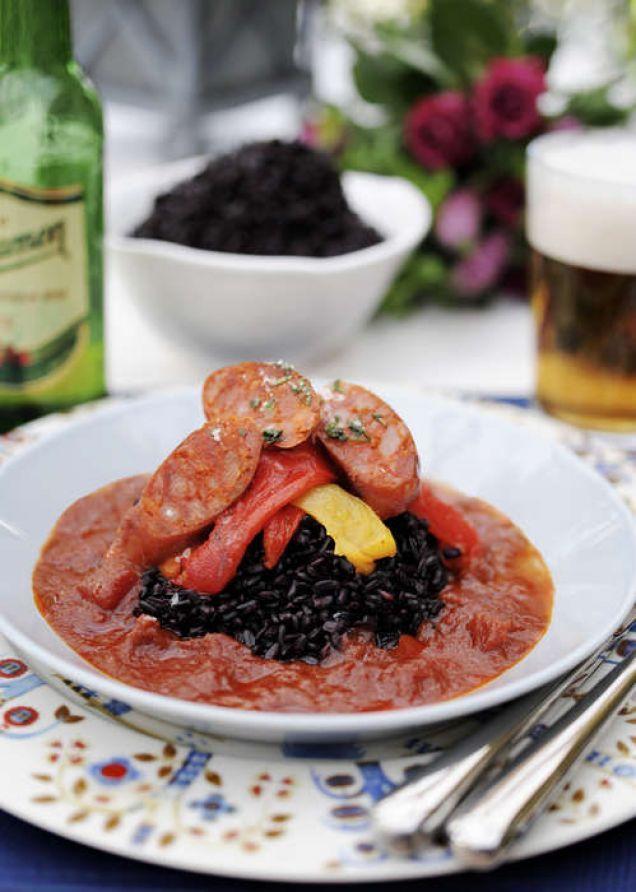 Stroganoff på chorizo med rostad paprika