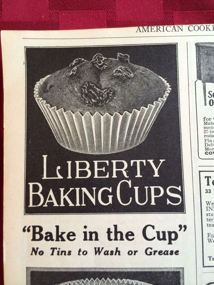 Cupcake papers advertised in American Cookery October 1925 p. 232. More baking paper history http:// foodtimeline.org/foodcakes.html#bakingpapersFacebook Like