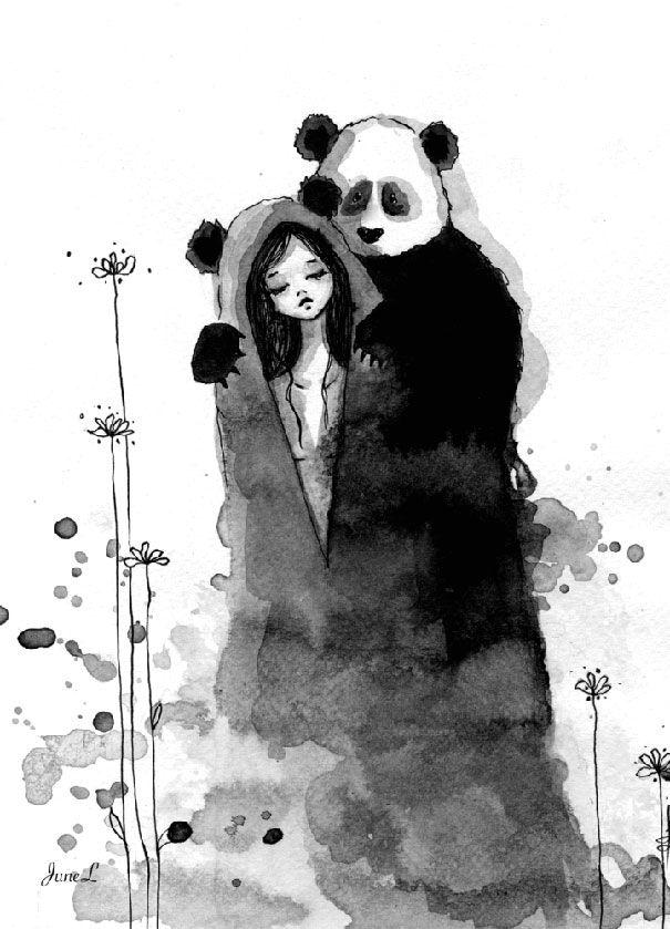 Panda et femme l 39 encre de chine par june leeloo http - Dessins de panda ...