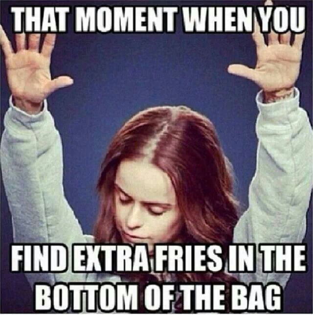 """That's a family trait. All the woman say """"Thank you Jesus for these extra fries."""