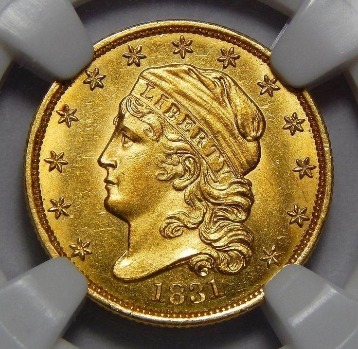 1831 Ngc MS66✮ $2.50 Capped Bust Gold Rare coins for sale at www.rubylane.com @rubylanecom #vintagebeginshere