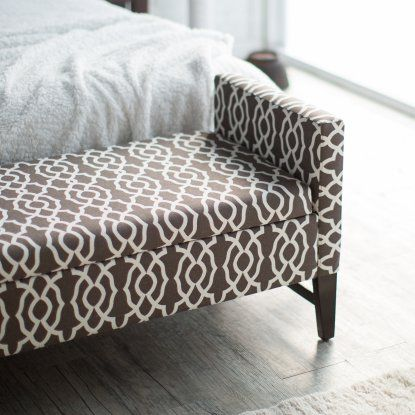 Belham Living Camille Upholstered Backless Storage Bench - Chocolate Geo