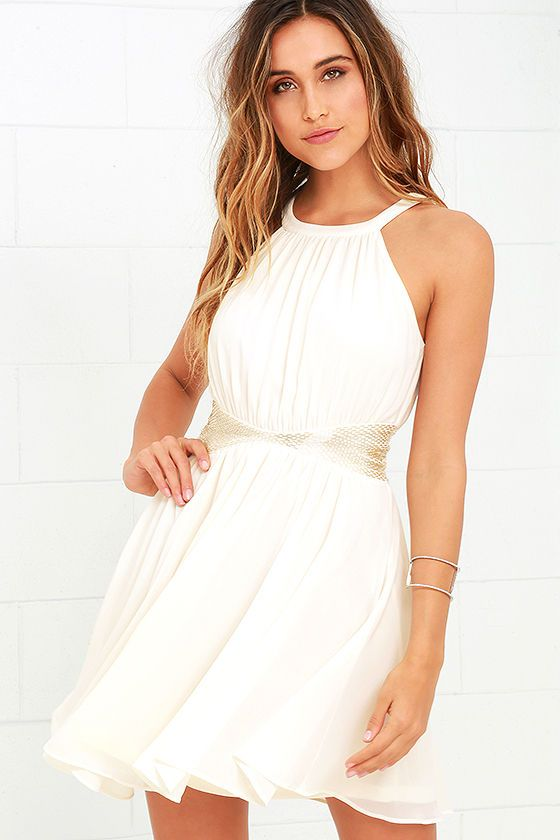 One More Night Beaded Dress in Cream