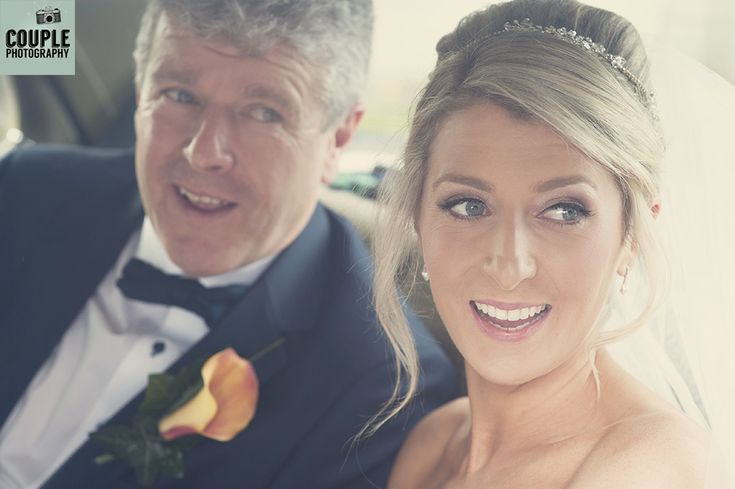 The bride & her father arrive at the church. Weddings at Durrow Castle photographed by Couple Photography.