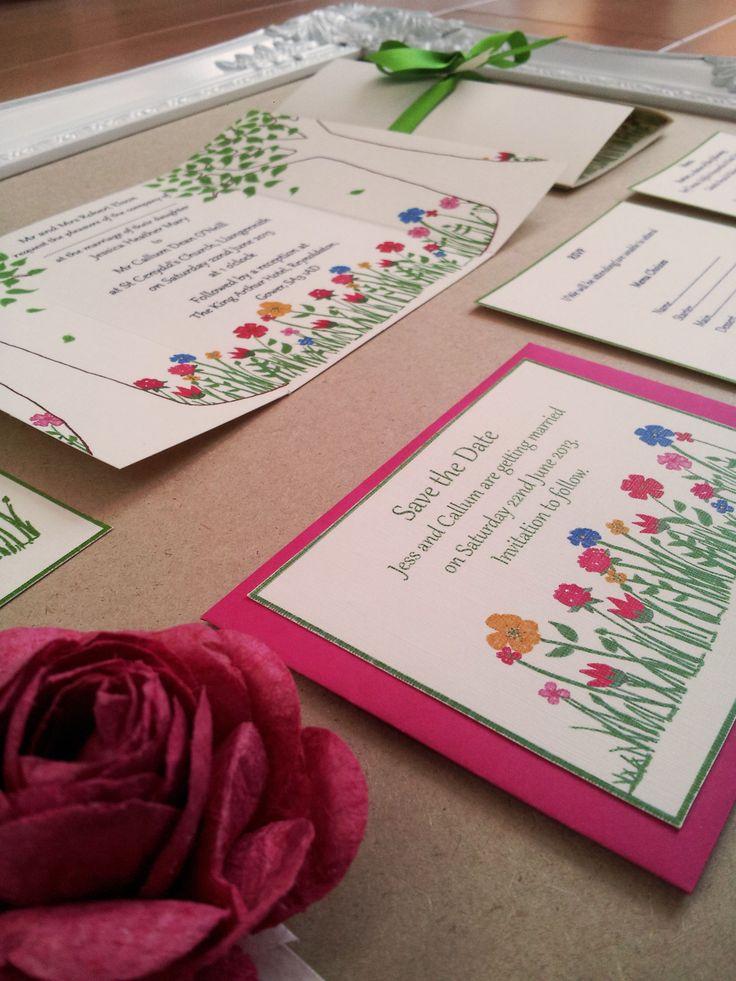 Liberty print inspired wedding invitations.