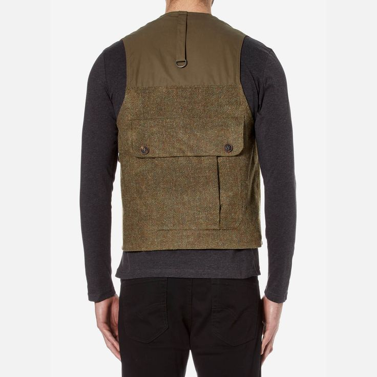 Nigel Cabourn Men's Hybrid Finish Harris Tweed Cameraman Converse Vest Jacket - Army - Free UK Delivery over £50