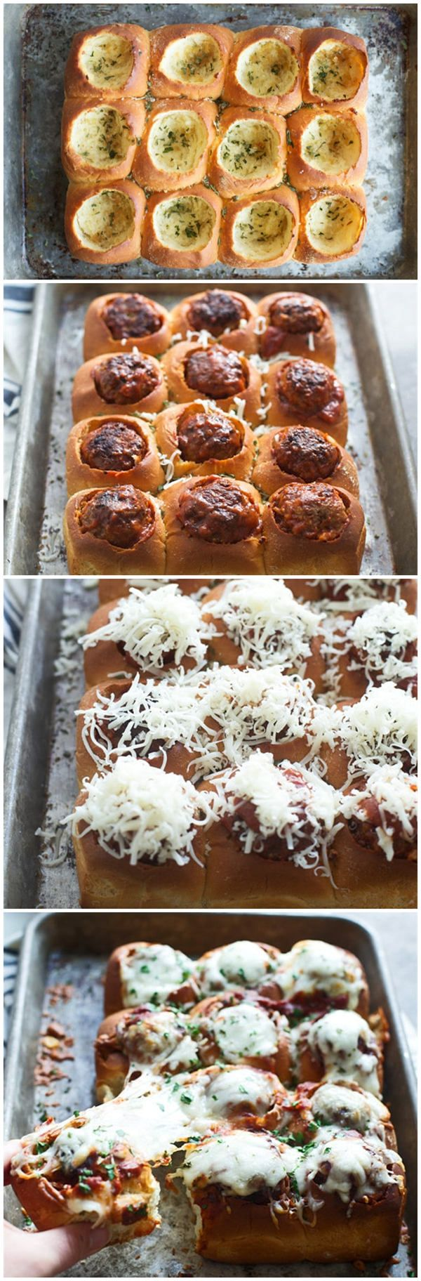 Buttery rolls are hallowed out, made into garlic bread and then stuffed with meatballs, sauce and cheese. They're basically a compact meatba...