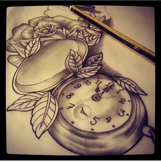 pocket watch and rose thigh tattoo inkedgirls tattoos pinterest rose thigh tattoos. Black Bedroom Furniture Sets. Home Design Ideas