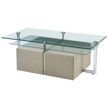 Table basse plateau en verre tremp 4 poufs elgaro sur for Table basse en verre trempe