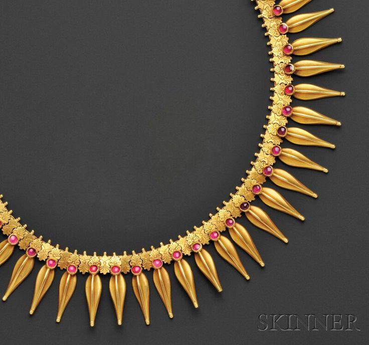 High-karat Gold Fringe Necklace, the urn-form fringe with cabochon red stone accents, 120.8 dwt, lg. 22 1/2 in. Victorian or VIctorian style