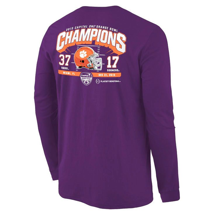 Clemson Tigers College Football Playoff 2015 Orange Bowl Champions Touchdown Score Long Sleeve T-Shirt - Purple - $23.74
