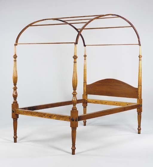A federal carved maple field bedstead new england circa