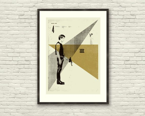 STAR WARS Inspired, Poster, Han Solo, 20 x 28 Handprinted Silkscreen Art Print, Mid-Century Modern, Metallic Gold Ink, Boutique. $80.00, via Etsy.