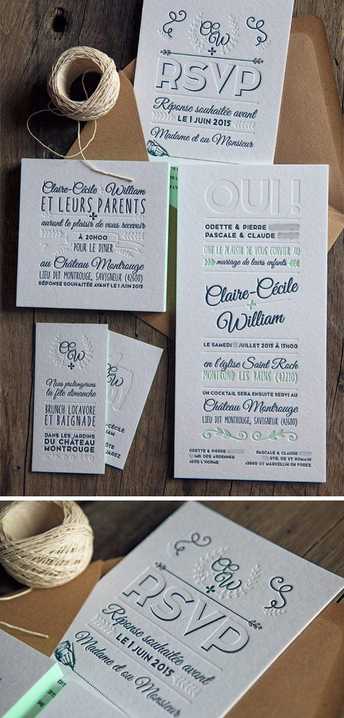 Suite de mariage avec faire-part, cartons RSVP, invitations dîner et brunch en 2 couleurs et débossage à sec / letterpress wedding suite printed by Cocorico letterpress
