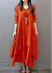 V Neck Long Sleeve Orange Maxi Dress on sale only US$27.79 now, buy cheap V Neck Long Sleeve Orange Maxi Dress at lulugal.com