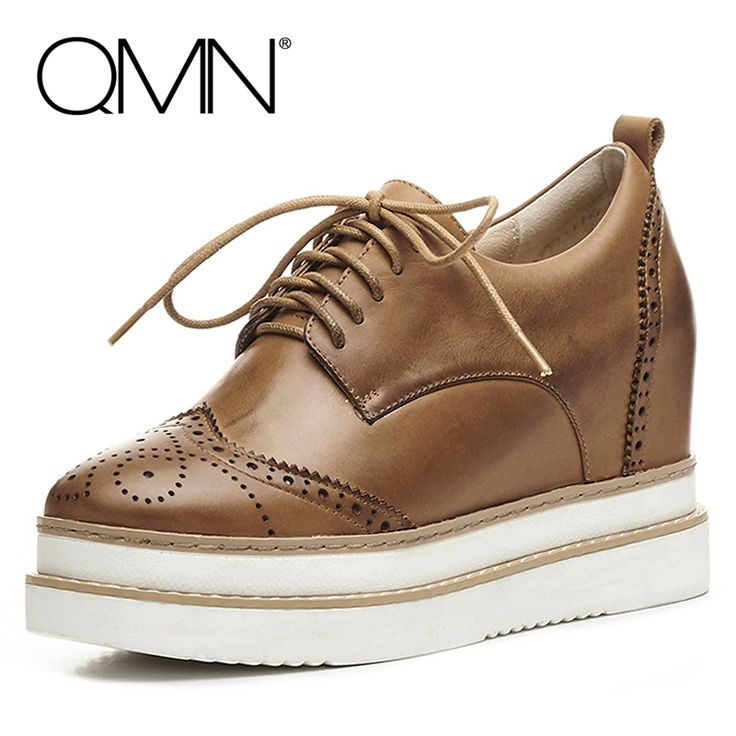 63.88$  Watch here  - QMN women laser-cut brushed leather brogue shoes Women Height Increasing Oxfords Casual Shoes Woman Leather Platform Flats