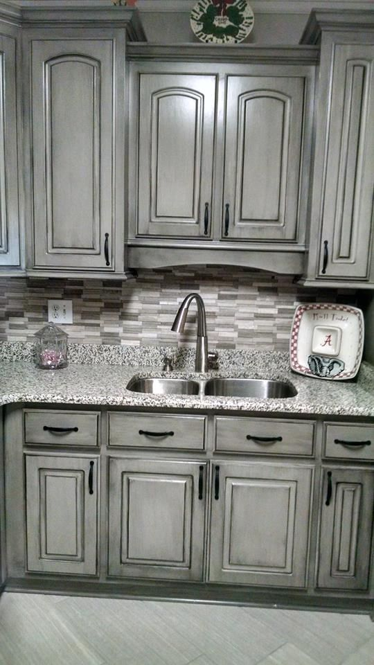 Fresh Grey Cabinets with Black Glaze