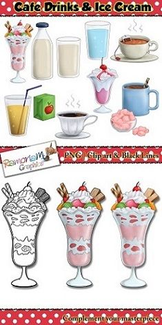 50% off till OCT 26th!! Cafe drinks and ice cream clip art, parfait, milk, water, coffee, hot chocolate, creme galce, apple juice, marshmellows