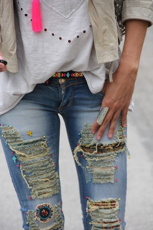 ripped embellished jeans
