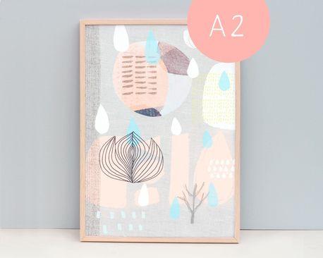 A2 Scandinavian Fine Art Print - Collage 58, Peach and Blue - by nomuu