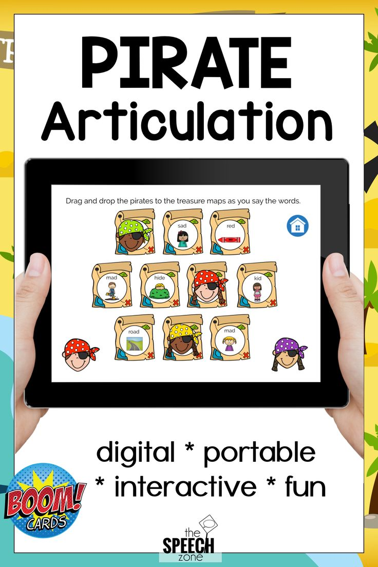Boom cards digital no print pirate articulation speech