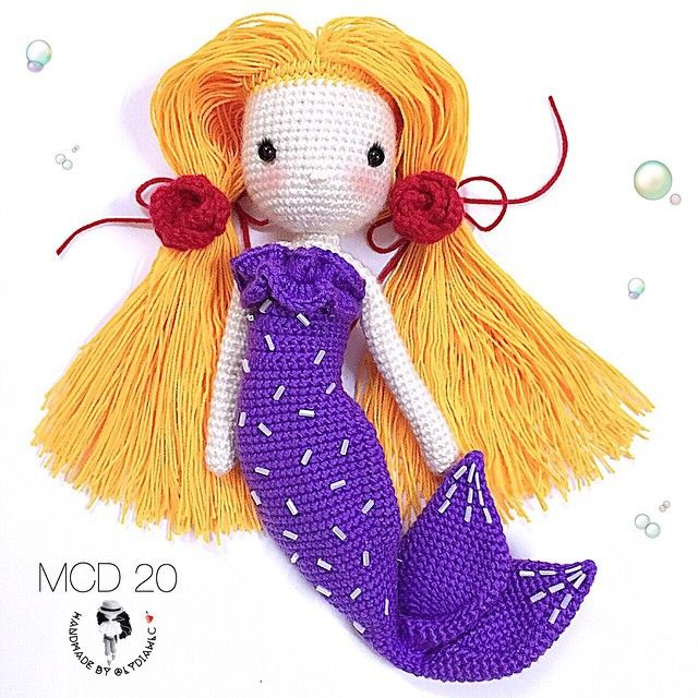 Crochet Doll no.20(part 2) @ Mermaid for a little girl. Two roses  as requested by her.
