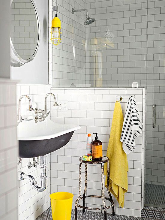 How cool is this modern, subway-tiled bathroom? 20+ more bathroom layouts here: http://www.bhg.com/bathroom/color-schemes/colors/bathroom-color-schemes/?socsrc=bhgpin072414blackyellowwhite&page=3