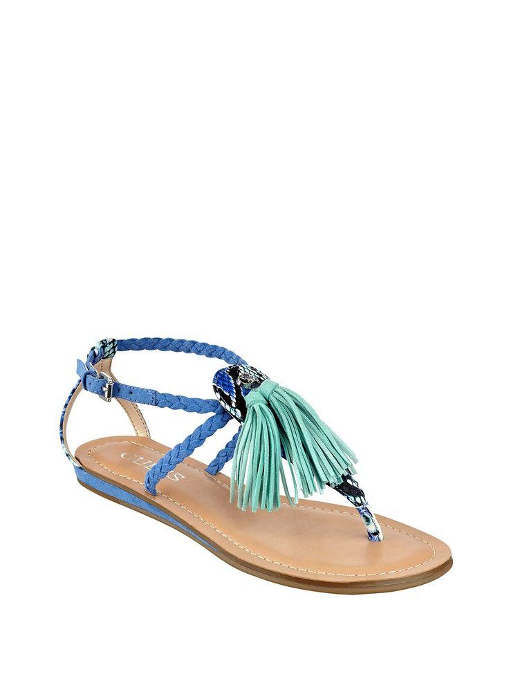 Frannie T-Strap Sandals | GUESS.com