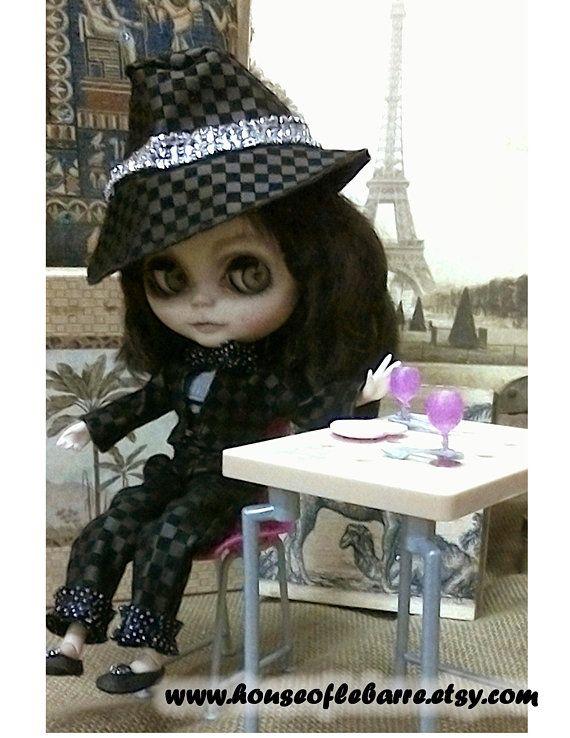 972d54dfe77cc Blythe Doll Clothes Chloe in Black Black Fedora