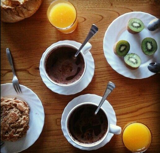Breakfast Coffee, Orange Juice, Pancakes avena&banana, kiwi ^^          I love ❤