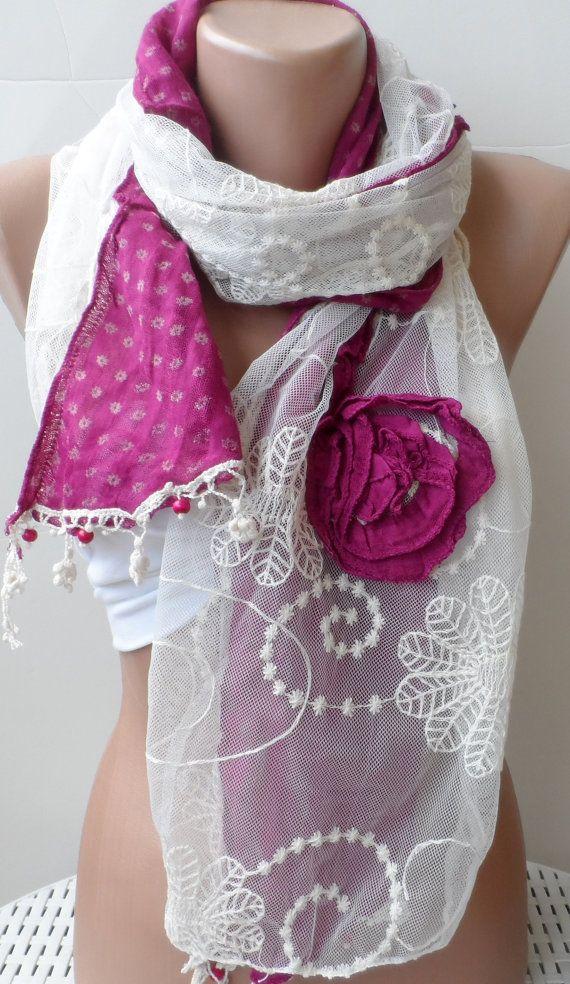 motherShabby Chic Dark Pink Georgeus Rose Scarf by elegancescarf, $21.00