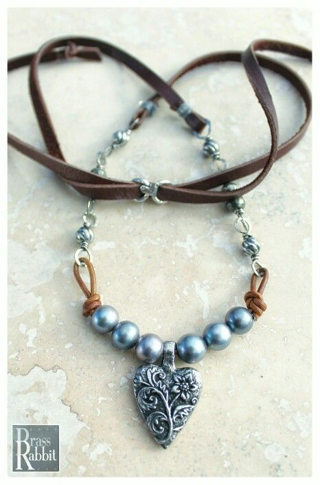 335 best jewelry design inspiration images on pinterest jewellery pearl leather sterling silver and artisan pewter heart pendant necklace by brass rabbit studio audiocablefo