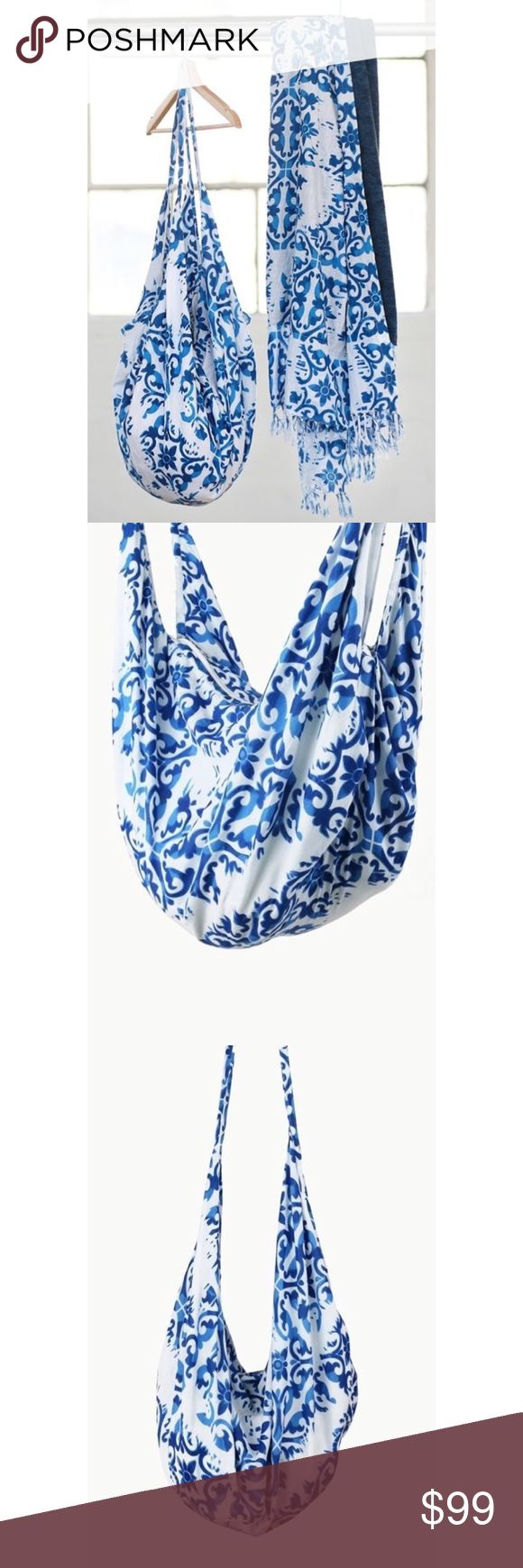 """Hand Block Print Hobo Zipper Tote Bag Stunningly unique handcrafted damask block print hobo tote with zipper *Hand block print may have minor variations in the print making each bag a unique one of a kind piece. Pattern placement will vary from bag to bag  100% Cotton Approx 36.7"""" X 20"""" Color may vary due to device color calibration and photography lighting (time of day, indoors/outdoors, angle) Bags"""