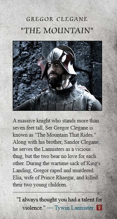"""Gregor Clegane """"The Mountain that Rides"""" character bio. Played by Ian Whyte."""