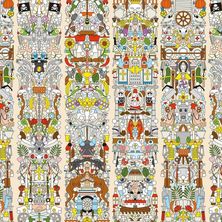 Studio Job-oprichters Job Smeets en Nynke Tynagel doken hun archief in en gebruikten bestaande tekeningen, iconen, beelden en patronen voor nieuw behang. Wow wa
