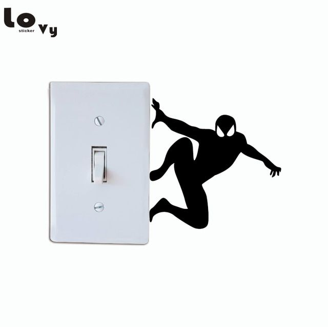Creative Spiderman Silhouette Light Switch Sticker Cartoon Superhero Wall Stickers For Kids Room Ho Superhero Wall Stickers Superhero Wall Light Switch Sticker