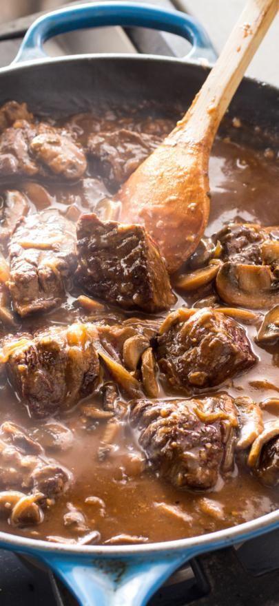 Cast-Iron Steak Tips with Mushroom-Onion Gravy.