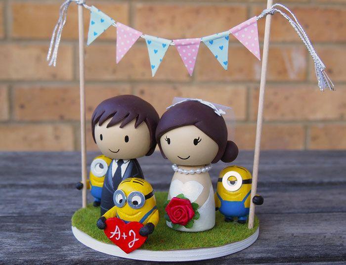 Cute Minion Wedding Cake Topper, Minion birthday cake ~ Dipacake