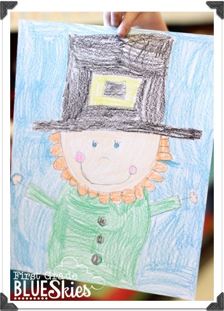 First Grade Blue Skies: Leprechaun Directed Drawing FREEBIE