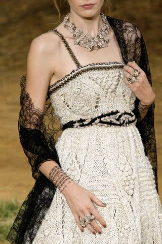 Chanel dress. I love the idea of spaghetti straps with cables and bobbles.
