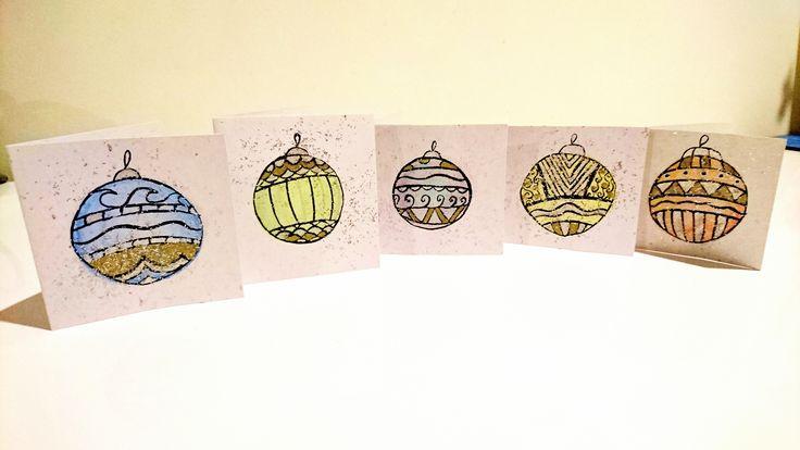 Simple watercolour & glitter design for for mini christmas card series.