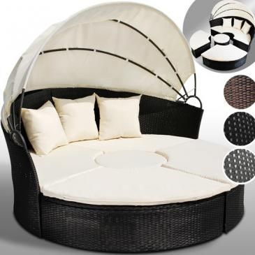 Jago24Poly-Rattan+Garden+Daybed+inc.+Tablebrown