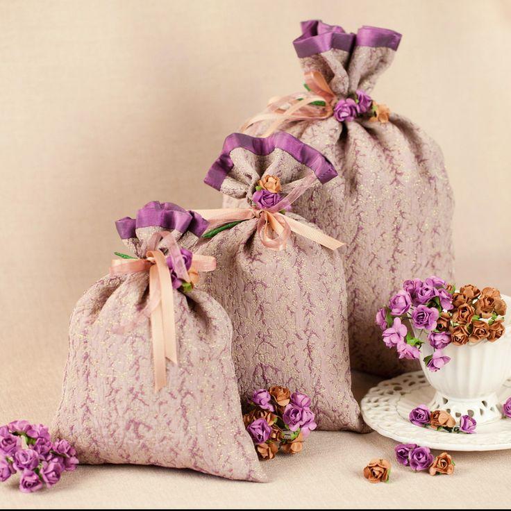 """Подарочные тканевые мешочки """"Лаванда"""" Жаккард, тафта. Лента репс и органза. Декор - бумажные розочки"""