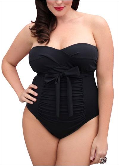 Love her figure! Black swimwear