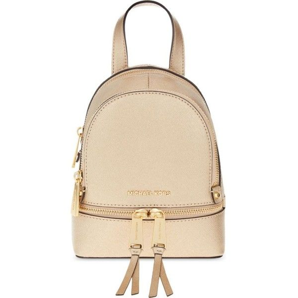 Michael Michael Kors Rhea extra-small leather backpack (€185) ❤ liked on Polyvore featuring bags, backpacks, ballet, leather zipper backpack, zip bag, leather zipper bag, beige backpack and leather zip backpack